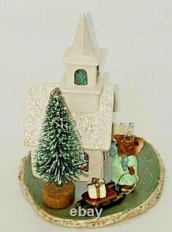 M-263, Midnight Clear with Church, Mint, Wee Forest Folk, Retired, Miniature