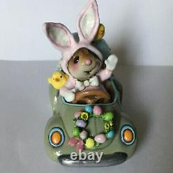 NEW RARE Wee Forest Folk Honk For Easter! M-454b With Box Bunny Mouse Car Retired