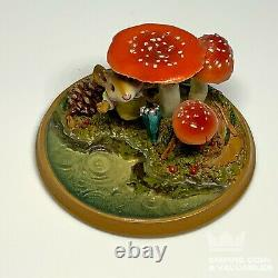 RARE Wee Forest Folk RETIRED 2001 PM-5 Raindrops Mouse Under Mushrooms E2BM