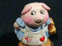 Vintage Wee Forest Folk Girl Piggy Picnic Basket Retired 1978