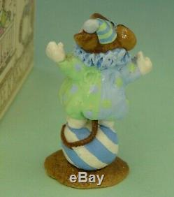 WEE FOREST FOLK M-98 CLOWN MOUSE VINTAGE 1982-84 retired blue/green