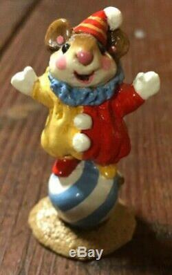 WEE FOREST FOLK RARE Clown Mouse on Ball A Petersen 1983 Retired M-098 Box Mint