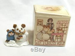 WEE FOREST FOLK Snow Mouse & Friend RARE #M-84, Annette Petersen, 1982, Retired