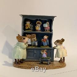 Wee Forest Folk Curio RETIRED SPECIAL BLUE ANNETTES 100th BIRTHDAY with 6 Minis