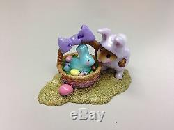 Wee Forest Folk Easter BUNNY IN A BASKET Retired M-251