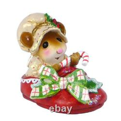 Wee Forest Folk Figurine M-498 Snuggled in for Christmas (Red Slipper)