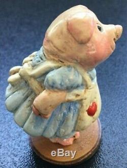 Wee Forest Folk Girl Piggy Picnic Basket Vintage Retired 1978 SIGNED RARE WFF