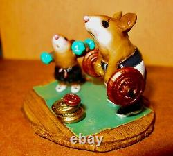Wee Forest Folk Gym Pals Special Edition MS-24 Weight Lifting Mice Retired
