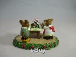 Wee Forest Folk Home Sweet Home White Dress Holly Base Retired in WFF Box