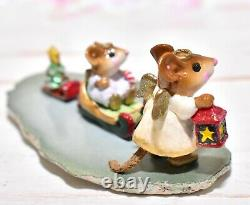 Wee Forest Folk M-262 Lighting the Way Christmas RETIRED Angel Mouse Sled