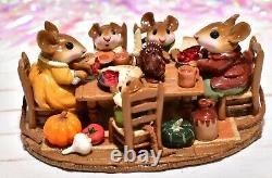 Wee Forest Folk M-302 Family Gathering Thanksgiving Table RETIRED Mouse WFF