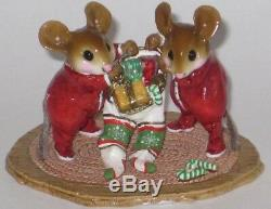 Wee Forest Folk M-329 TWO FOR ONE twin mice at Christmas, retired