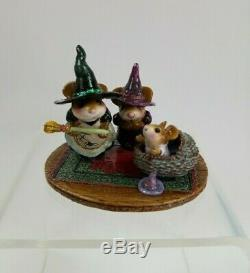 Wee Forest Folk M-373b Baby Witch's First Broom Halloween LTD Retired NIB