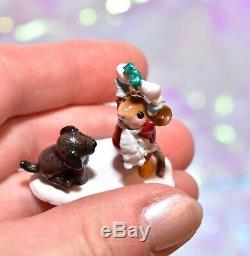 Wee Forest Folk M-428a Not Until Christmas Mouse Dog Bone Winter Retired WFF