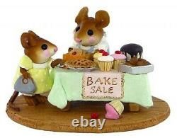 Wee Forest Folk MOUSEY'S BAKE SALE, WFF# M-220, GREEN Tablecloth, Retired Mouse