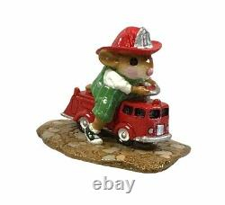 Wee Forest Folk MP-4 Fire Mouse With Fire Engine Retired Collectible