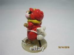 Wee Forest Folk MS-08 Skater Mouse Red Not Perfect Retired WFF