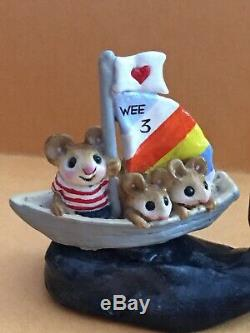 Wee Forest Folk MS-12 Land Ho! Land Ho Retired 3 Mice In A Sailboat On Whale
