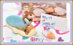 Wee Forest Folk MS-19 Surf's Up! Surfer BUBBLES Surfboard Mouse Retired WFF