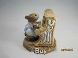 Wee Forest Folk Mouse Pianist Blue Dress Retired in 1984 WFF Box