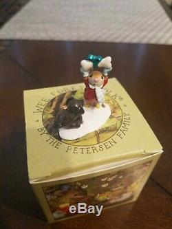 Wee Forest Folk Not Until Christmas Mouse Dog Bone Holiday Retired with box