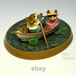 Wee Forest Folk PM-6 Forget-Me-Knot White Boat Retired E2BM