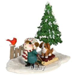 Wee Forest Folk PUPPY LOVE, WFF# M-418b, Retired LTD Christmas Mouse