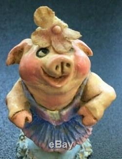 Wee Forest Folk Piggy Ballerina Vintage Retired 1979 SIGNED RARE