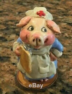 Wee Forest Folk Piggy Nurse Vintage Retired 1980's SIGNED RARE
