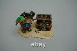 Wee Forest Folk Pirate's Treasure Chest Retired Halloween WFF Parrot