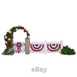 Wee Forest Folk RWB PICKET FENCE, WFF# A-26, Patriotic Backdrop, Retired Last 1