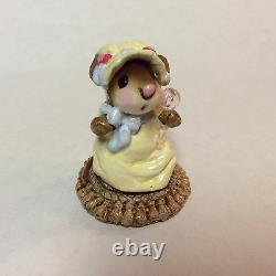 Wee Forest Folk Retired Mousey Baby Yellow Dress Blue Bow