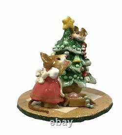 Wee Forest Folk Scamper Raising Cane Pink Dress Christmas M-240 Retired Mouse