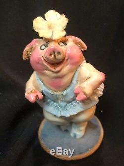 Wee Forest Folk Very Rare Retired Piggy Ballerina