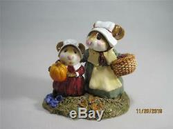 Wee Forest Folk We Gather Together Pilgrim Mice Retired Thanksgiving WFF