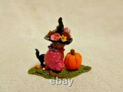 Wee Forest Folk Witchy Hat Scary Cat Halloween Edition Pink m-407a Retired