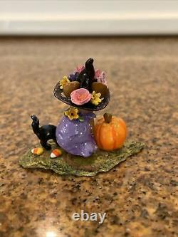 Wee Forest Folk Witchy Hat Scary Cat Halloween Edition Pink m-407a Retired 2012